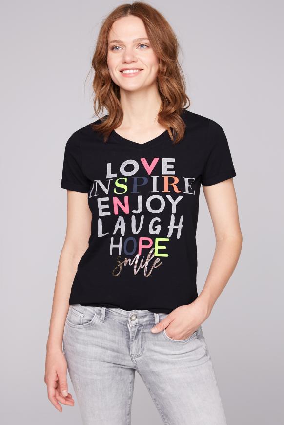 T-Shirt mit buntem Schriftzug berry blue