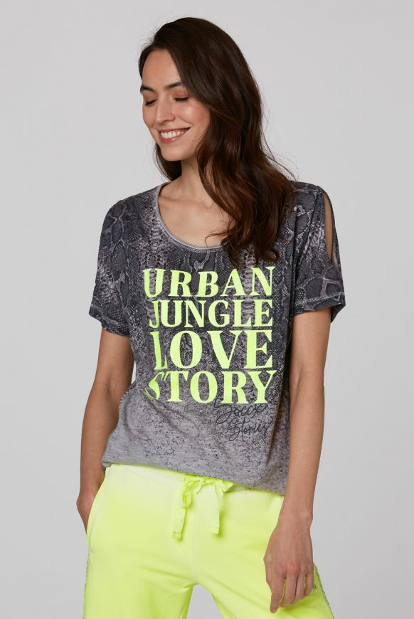 T-Shirt mit Cut Outs und Caviar Print light grey