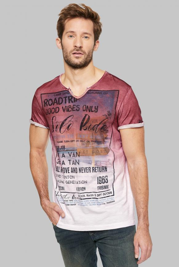 T-Shirt mit Dip-Dye-Effekt und Photoprint opticwhite
