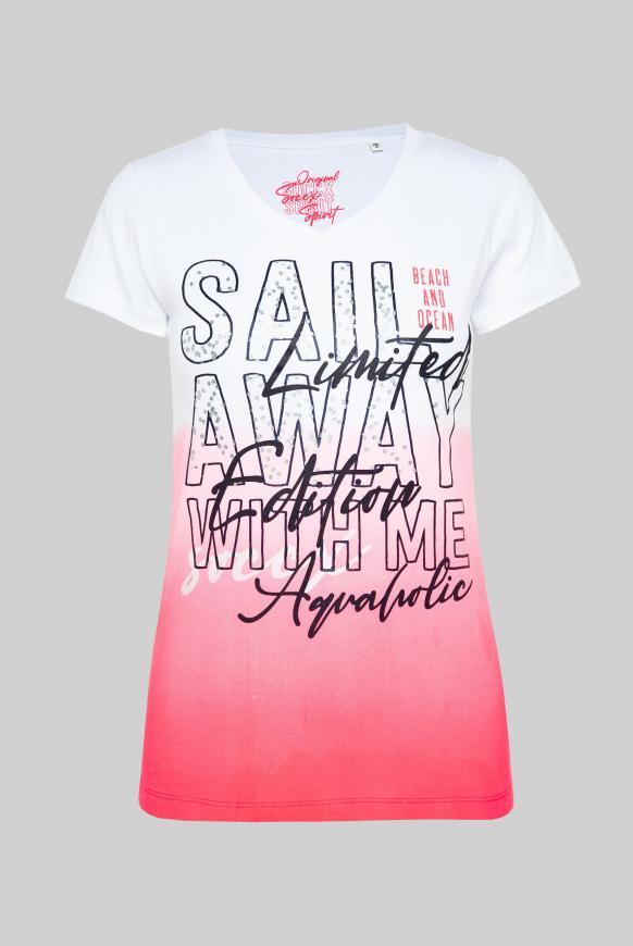 T-Shirt mit Dip-Dye-Effekt und Print-Artwork neon rosa