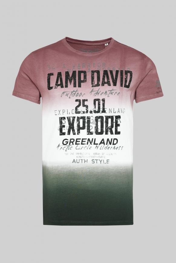 T-Shirt mit Farbverläufen und Logo Prints rebel red