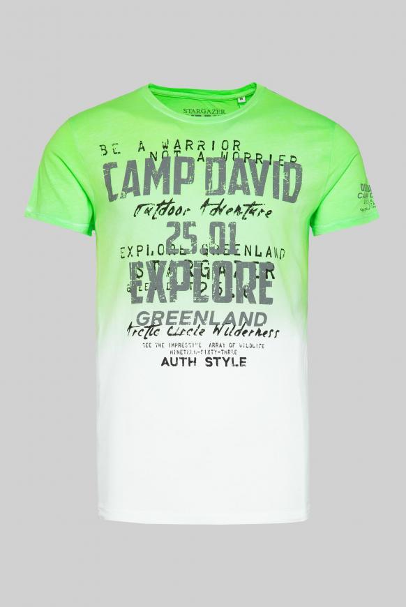 T-Shirt mit Farbverlauf und Logo Print signal green