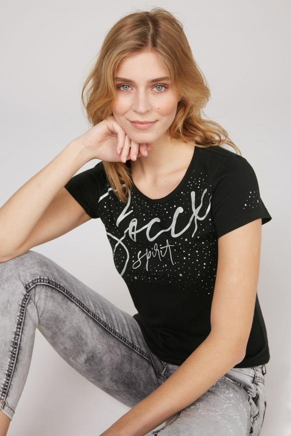 T-Shirt mit Folien-Print black