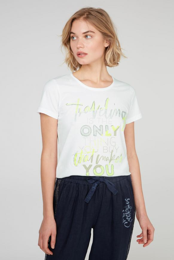 T-Shirt mit Glitter Artwork opticwhite