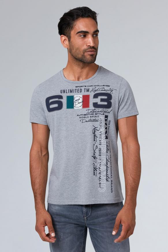 T-Shirt mit großem Frontprint grey melange