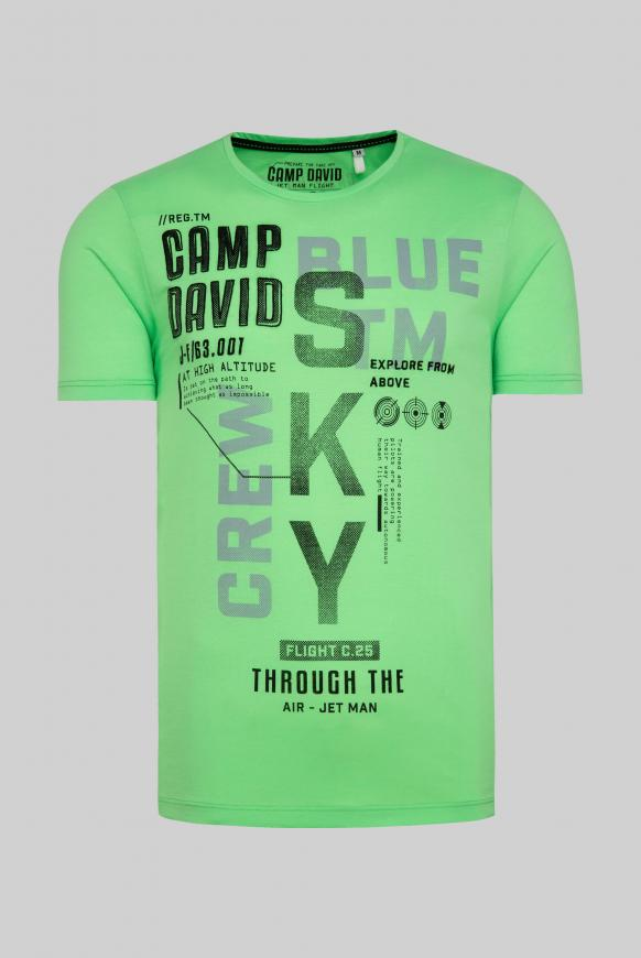 T-Shirt mit Label-Applikationen tech green