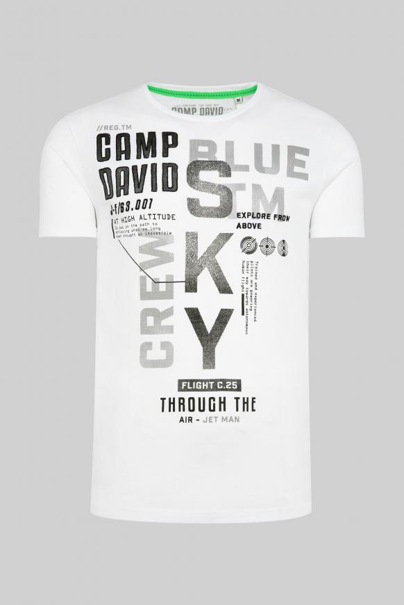 T-Shirt mit Label-Applikationen opticwhite