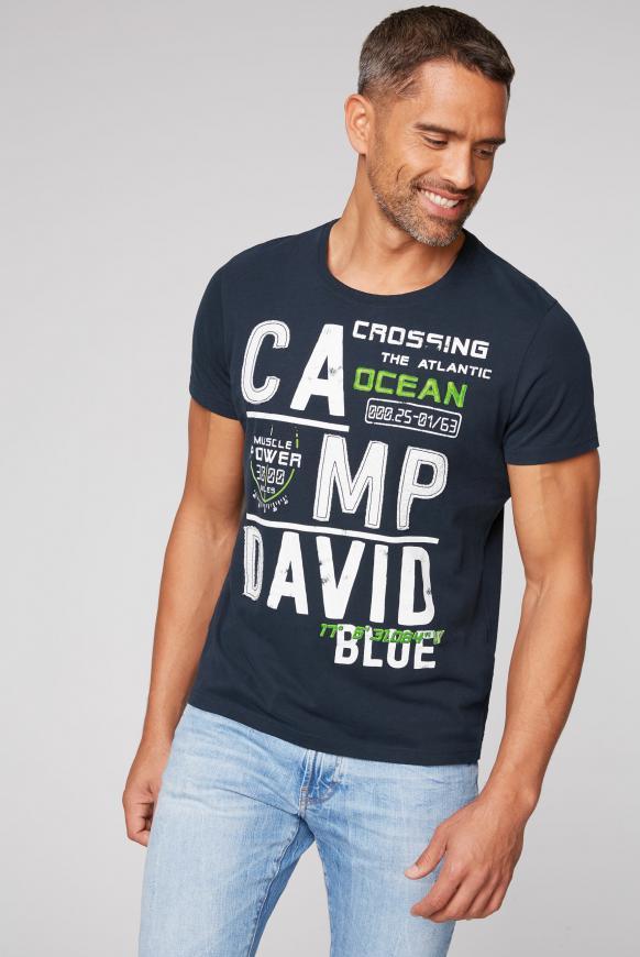 T-Shirt mit Logo-Applikationen blue navy