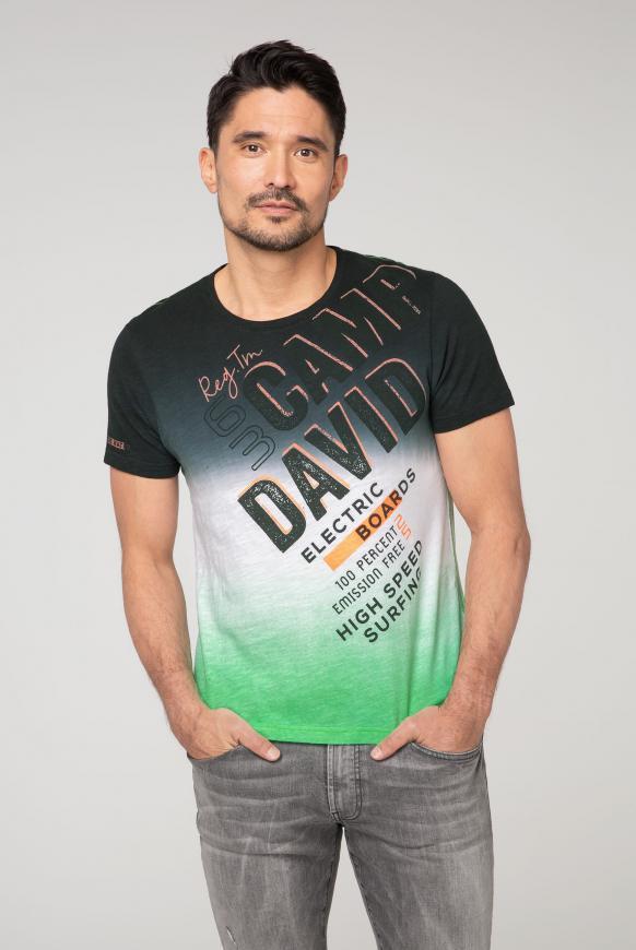 T-Shirt mit Logo und Dip-Dye-Effekt black
