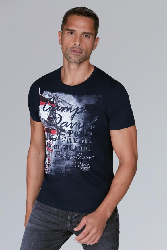 T-Shirt mit maritimen Photoprint blue navy