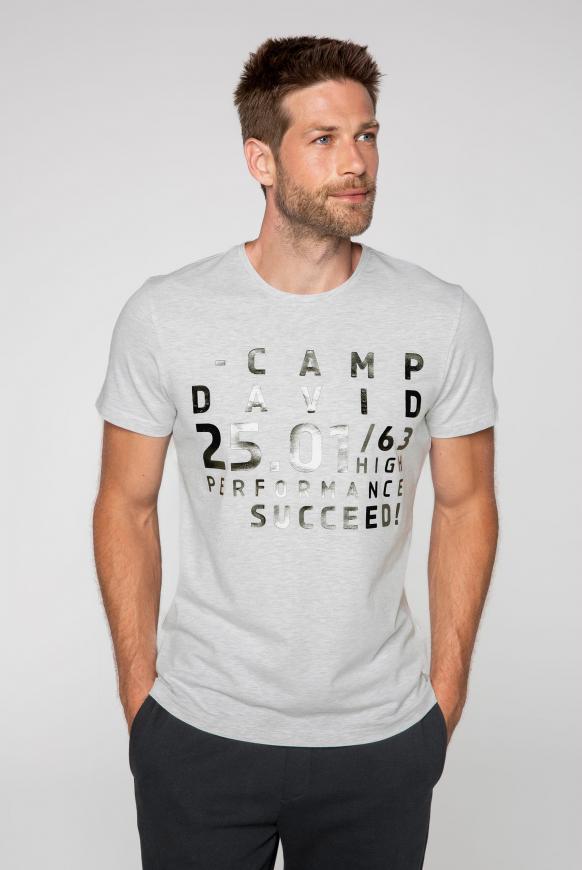 T-Shirt mit Metallic Rubber Print white melange