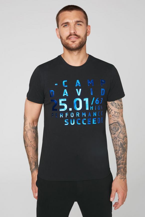 T-Shirt mit Metallic Rubber Print black