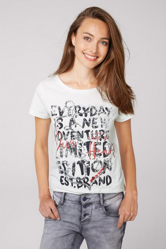 T-Shirt mit Pailletten-Artwork ivory