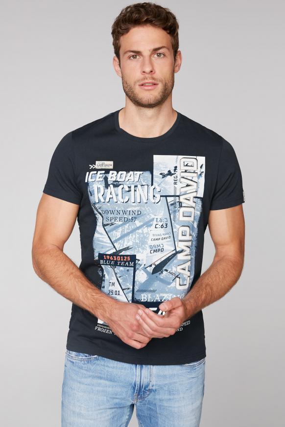 T-Shirt mit Photo- und Puff-Print blue navy