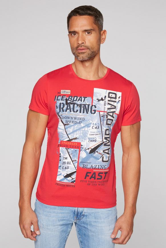 T-Shirt mit Photo- und Puff-Print speed red
