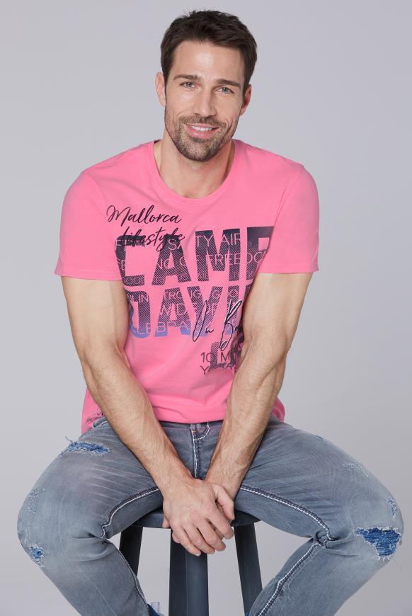 T-Shirt mit Photoprint Logo neon pink