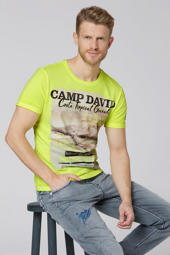 T-Shirt mit Photoprint und Ausbrennern neon lime