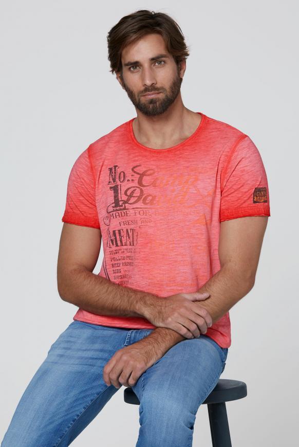 T-Shirt mit Print mit Farbverlauf fire red