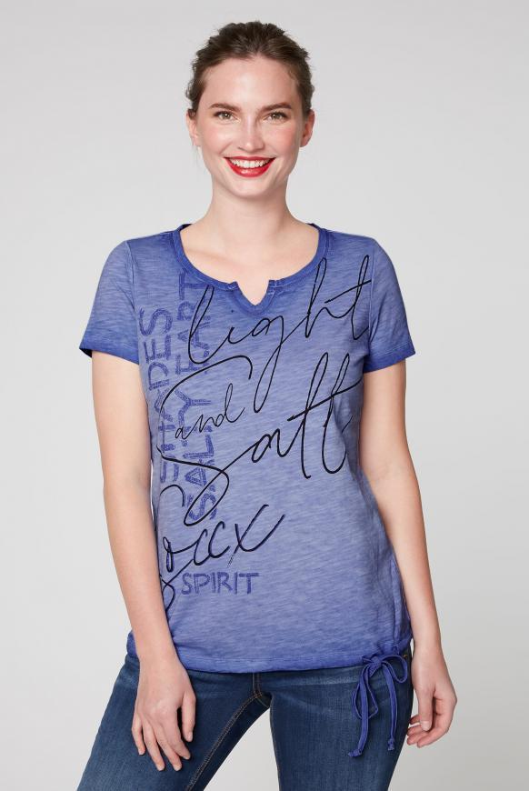 T-Shirt mit Print und Bindeband im Saum illusion blue
