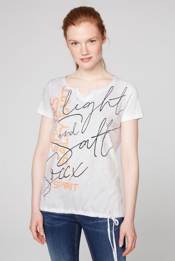 T-Shirt mit Print und Bindeband im Saum opticwhite