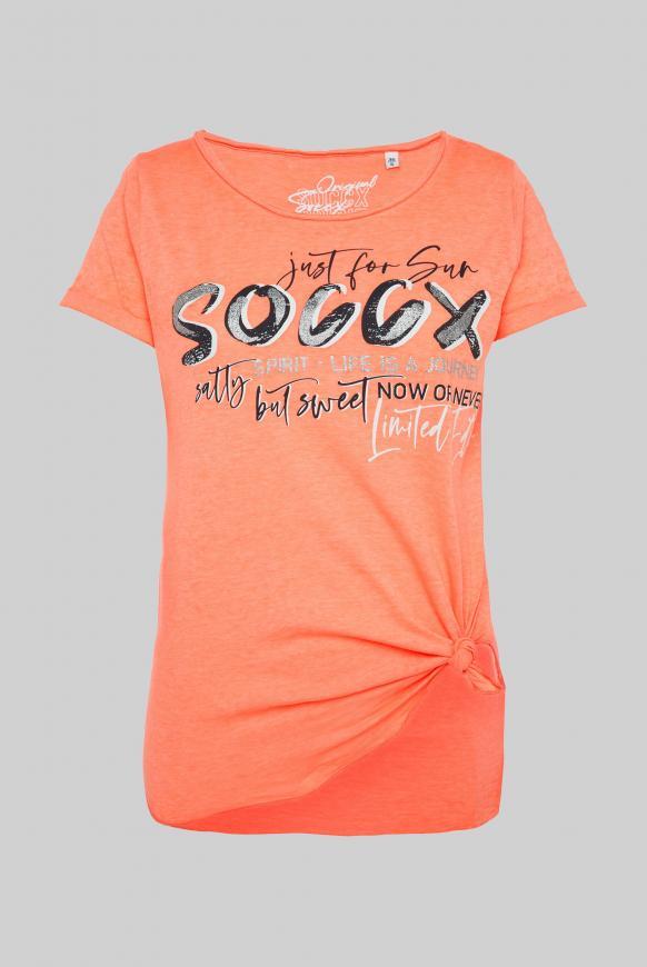 T-Shirt mit Print und Knotensaum neon orange