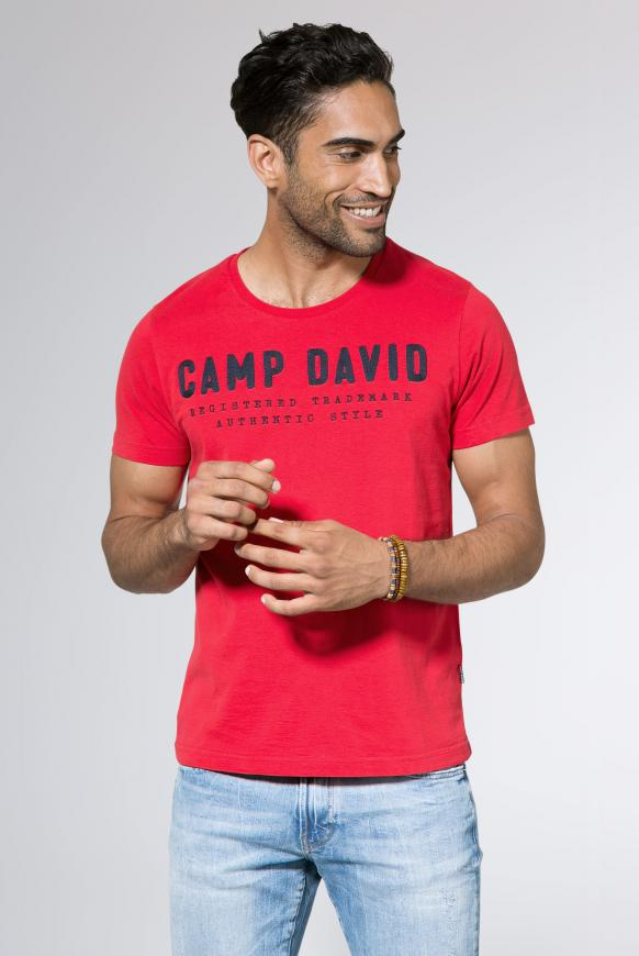 T-Shirt mit Round Neck und Logo-Stickerei royal red