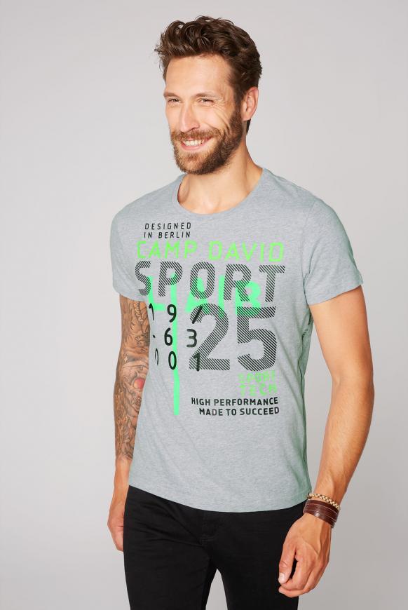 T-Shirt mit Rubber Print grey melange