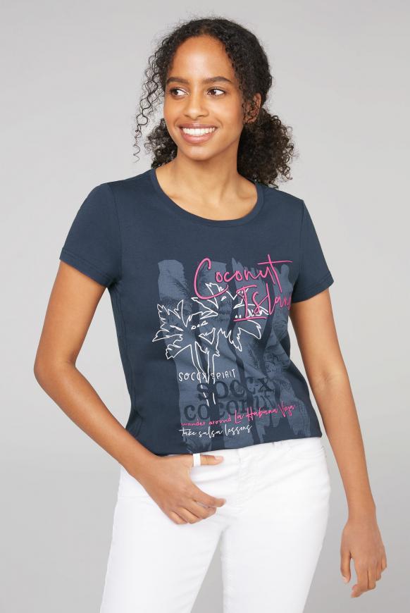 T-Shirt mit Rundhalsausschnitt und Druck moroccan blue