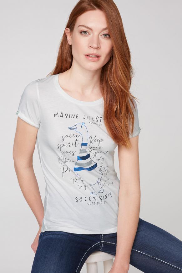 T-Shirt mit Rundhalsausschnitt und Frontprint ivory