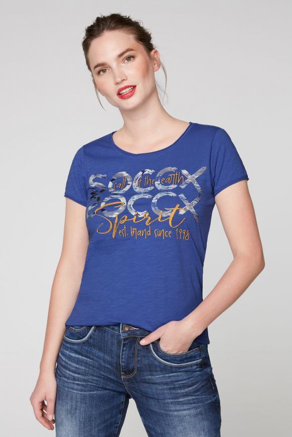 T-Shirt mit Used-Kanten und Artwork illusion blue