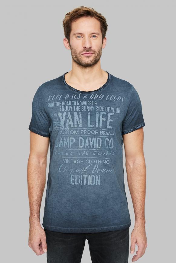 T-Shirt mit Used-Optik und Print Artworks deep sea