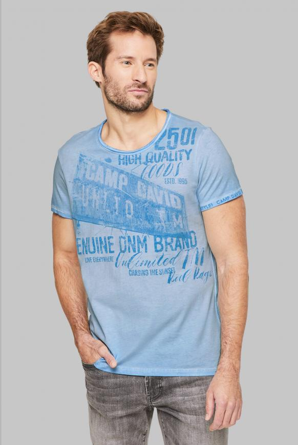T-Shirt mit Used-Optik und Print Artworks morning sky