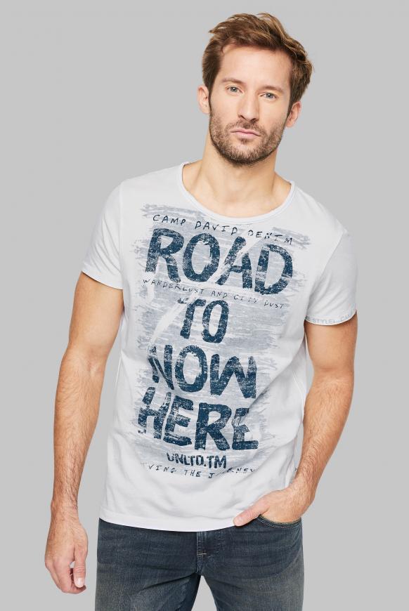T-Shirt mit Used-Optik und Print Artworks opticwhite