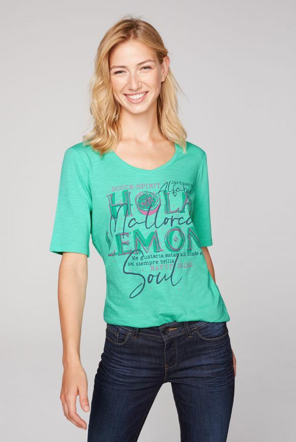 T-Shirt mit V-Ausschnitt und Artwork juicy green