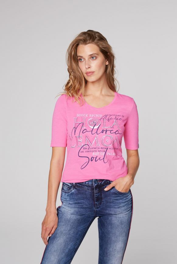 T-Shirt mit V-Ausschnitt und Artwork pink lemonade