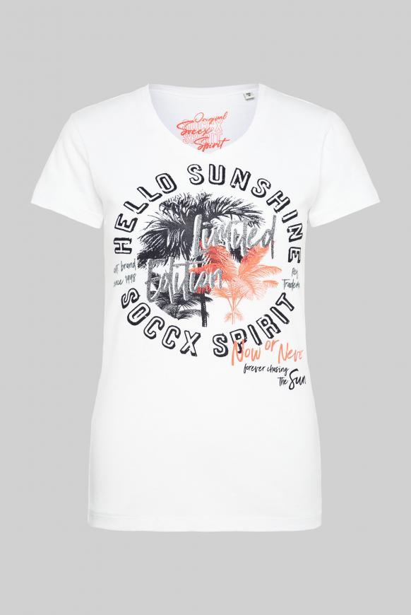 T-Shirt mit V-Ausschnitt und Artwork opticwhite