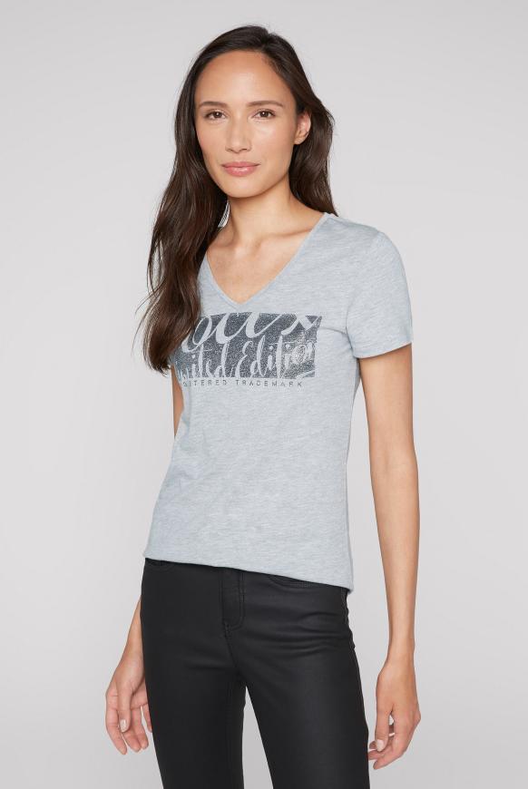 T-Shirt mit V-Ausschnitt und Glitter Print cool grey melange