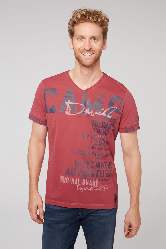 T-Shirt mit V-Ausschnitt und Used-Optik powder red