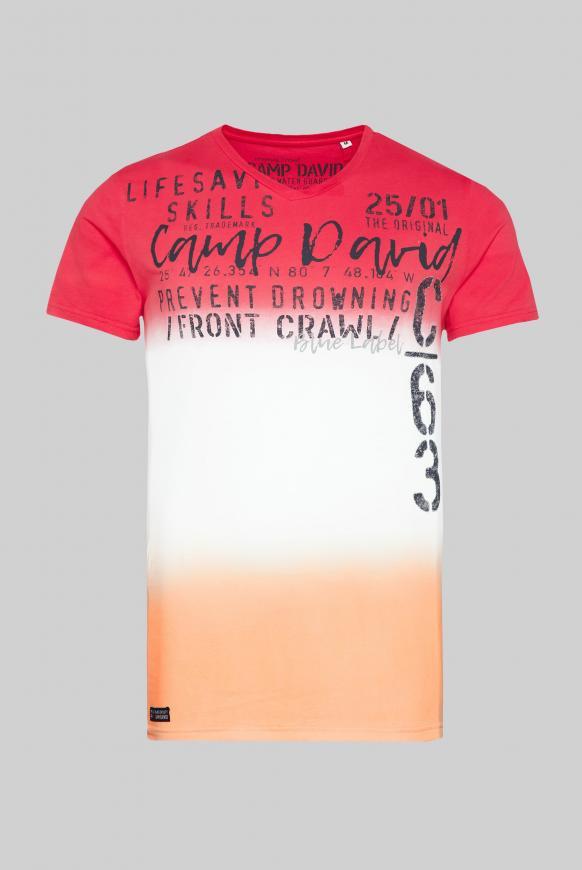 T-Shirt mit V-Neck und Farbverläufen red sun