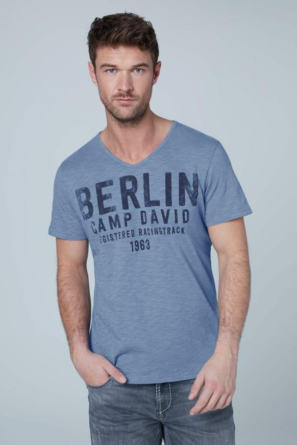 T-Shirt mit V-Neck und Frontprint grey blue
