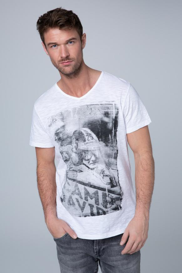 T-Shirt mit V-Neck und Frontprint opticwhite