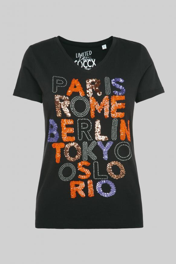T-Shirt mit V-Neck und Pailletten-Wording black