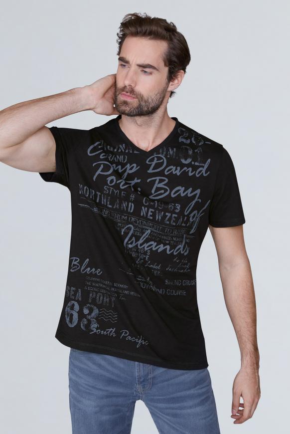 T-Shirt mit V-Neck und Used Print black
