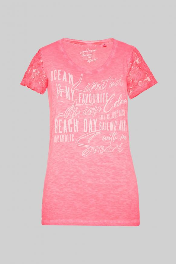 T-Shirt Oil Dyed mit Ärmeln aus Spitze neon rosa