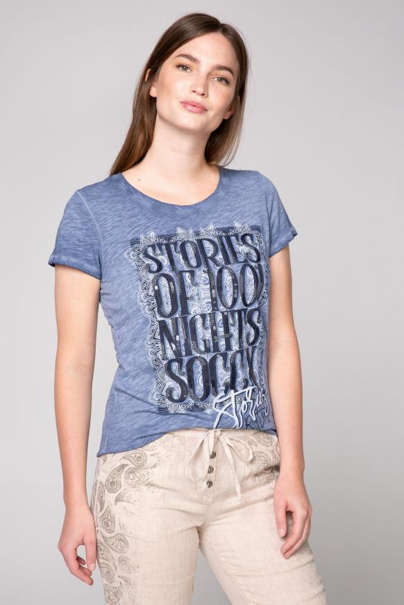 T-Shirt Oil Dyed mit Artwork moroccan blue