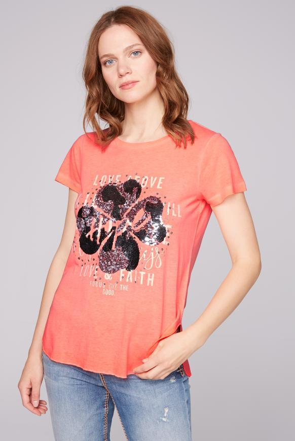 T-Shirt Oil Dyed mit Pailletten-Artwork neon orange