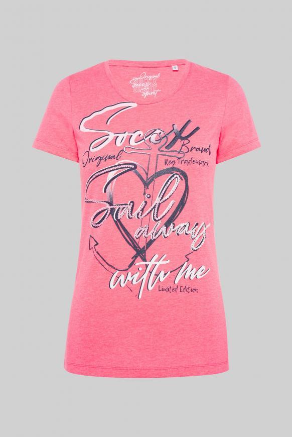 T-Shirt Rundhals mit Print-Artwork neon rosa