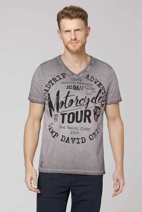 T-Shirt V-Neck mit Prints shadow