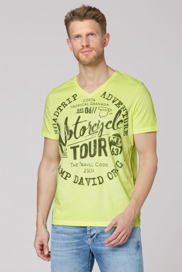 T-Shirt V-Neck mit Prints neon lime