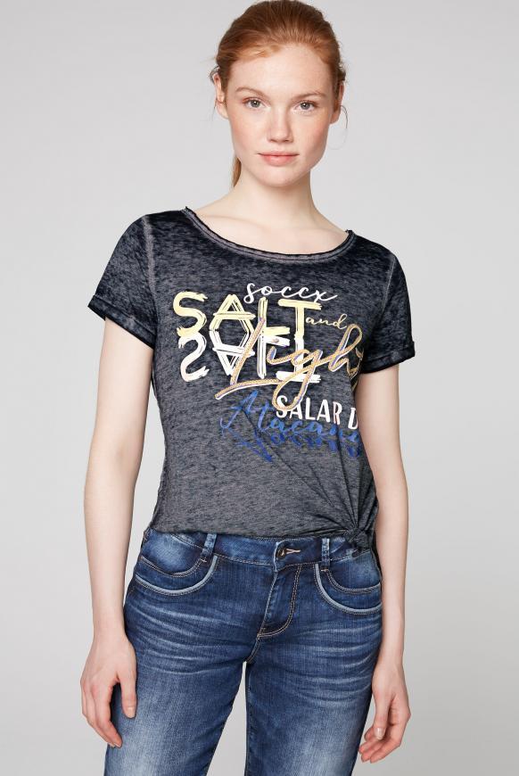 T-Shirt zum Knoten mit Ausbrennern und Artwork horizon navy